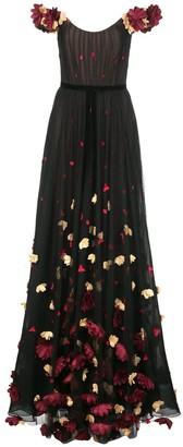 Marchesa Notte Off-Shoulder Floral Embroidered Dress