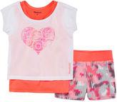 Reebok 2-pc. Short-Sleeve Heart Layered Tee and Shorts Set - Preschool Girls 4-6x