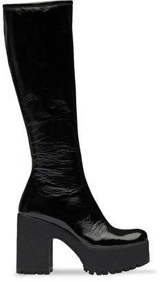Miu Miu Technical Patent Fabric Platform Boots
