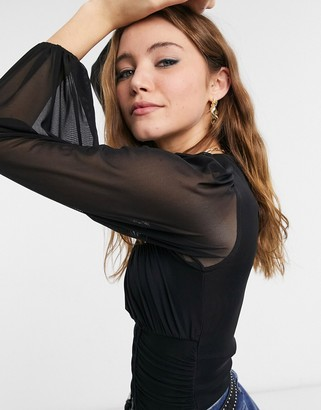 New Look ruched front mesh long sleeve top in black