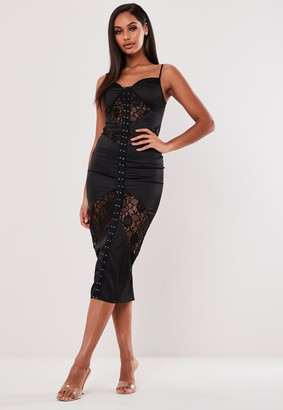 Missguided Black Satin Lace Bust Cup Midi Dress