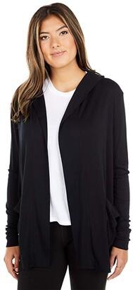 Splendid 1x1 Rib Knit Hooded Cardigan with Pockets (Black) Women's Clothing