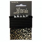 La-ta-da Silver Bead & Black Hair Ties 7 Count