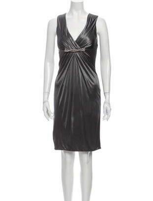 Versace V-Neck Knee-Length Dress w/ Tags Grey