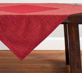 Pottery Barn Red Jacquard Table Throw
