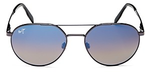 Maui Jim Unisex Waterfront Polarized Brow Bar Round Sunglasses, 55mm