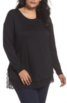 Sejour Plus Size Women's Lace Hem Tee