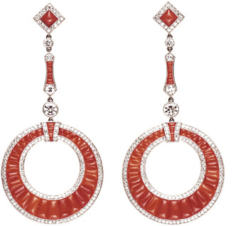 Stephen Russell Platinum Coral & Diamond Drop Earrings