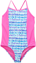 Vigoss Magenta Splash Crisscross-Back One-Piece - Girls