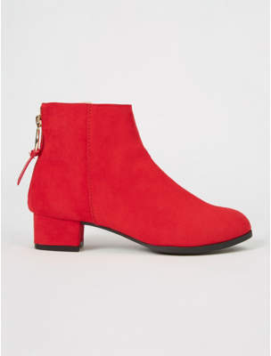 George Red Suede Effect Back Zip Ankle Boots