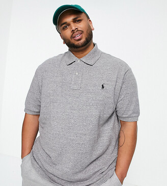 Big & Tall player logo pique polo in charcoal marl-Grey