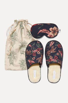 Desmond & Dempsey Soleia Eye Mask And Slippers Set - Navy