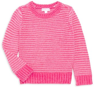 Design History Little Girl's Striped Chenille Cropped Sweater