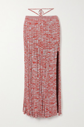 CHRISTOPHER ESBER Tie-detailed Melange Ribbed-knit Maxi Skirt - Red