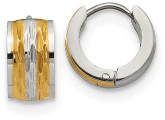 Chisel Stainless Steel Polished Yellow IP-Plated Hinged Hoop Earrings