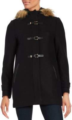Cole Haan Faux Fur Trimmed Wool Twill Duffle Coat