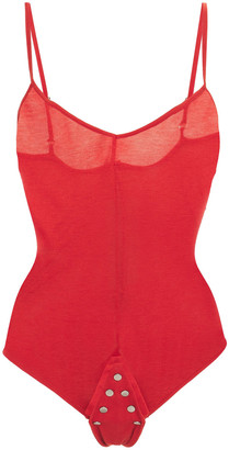 Rick Owens Sally Studded Cotton-jersey Bodysuit