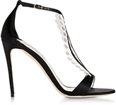 Olgana Paris La Sensuelle Black & White Leather & Satin Sandal