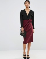 Asos Textured Pencil Skirt with Paper Bag Waist