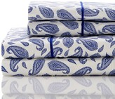 Melange Home 400 Thread Count Cotton Block Paisley Sheet Set - Navy