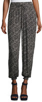 Rebecca Taylor Briar Pull-On Silk Jogger Pants, Black Pattern