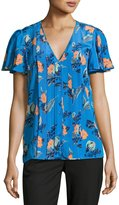 Diane von Furstenberg Flutter-Sleeve Pleated Silk Blouse, Blue