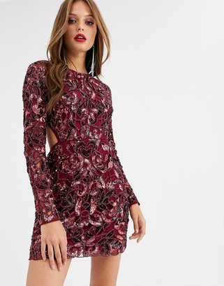 Asos Edition EDITION sequin cutwork open back mini dress-Red