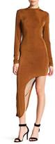 Glamorous Metallic Knit Long Sleeve Asymmetrical Dress