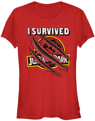 Fifth Sun Jurassic Park Women I Survived Claw Marks on Logo Short Sleeve Tee Shirt