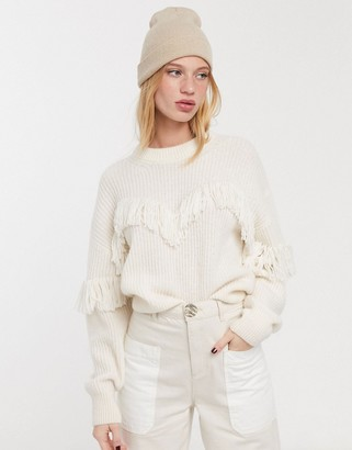 And other stories & alpaca blend fringe detail jumper in off white