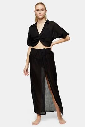 Topshop Black Long Sarong Skirt
