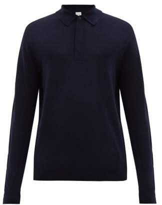 Paul Smith Merino-wool Long-sleeved Polo Shirt - Mens - Navy