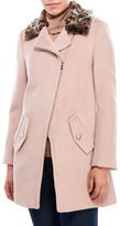 Rebecca Taylor Wool-Blend Coat with Leopard Print Collar