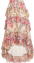 Philosophy di Lorenzo Serafini - Tiered Ruffled Floral-print Cotton And Silk-blend Maxi Skirt - Beige
