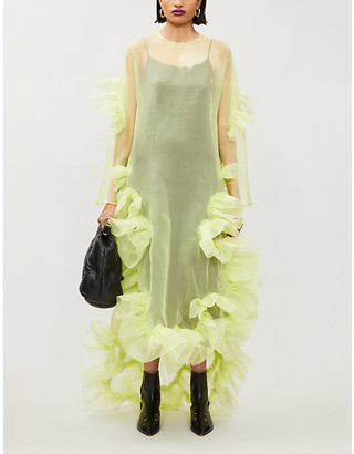 Roberts Wood X Ray ruched-applique silk-tulle maxi dress