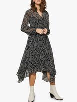 Mint Velvet Jessica V Neck Asymmetric Hem Leaf Print Dress, Black