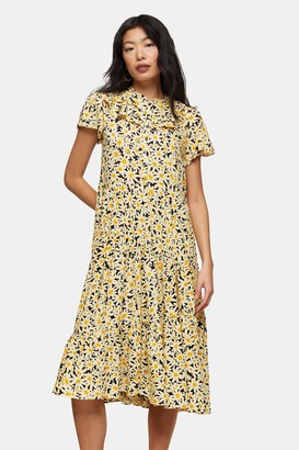 Topshop PETITE Yellow Daisy Print Grandad Shirt Dress