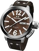 TW Steel Unisex Quartz Watch with Brown Dial Analogue Display and Brown Leather Strap CE1009