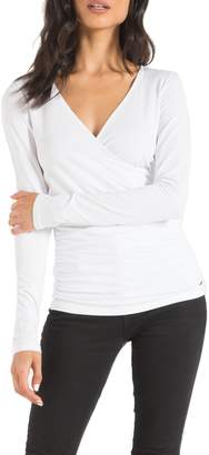 n:philanthropy Mateese Wrap Front Ruched Long Sleeve Top