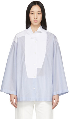 Loewe Blue and White Striped Oversized Leaning Shirt