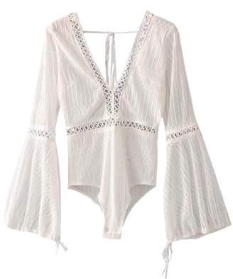 Goodnight Macaroon 'Hazel' Crochet Trim V-Neck Bodysuit (2 Colors)