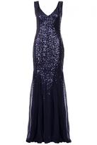 Quiz Navy Sequin V Neck Chiffon Fishtail Maxi Dress