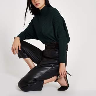 River Island Womens Dark Green ribbed knit high neck jumper