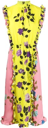 MSGM Colour-Block Rose Print Dress