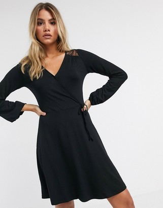 Lipsy lace shoulder wrap dress
