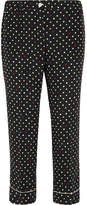 Miu Miu Cropped Polka-dot Silk Crepe De Chine Straight-leg Pants - Black