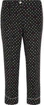 Miu Miu Cropped Polka-dot Silk Crepe De Chine Straight-leg Pants
