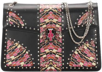 Bvlgari Black Leather Embellished Serpenti Forever Flap Bag
