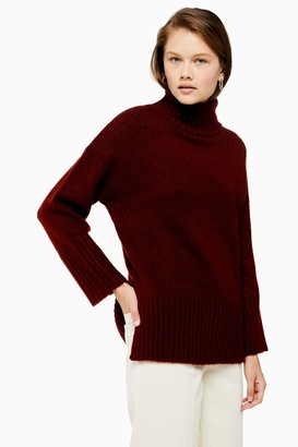 Topshop Womens Tall Camel Knitted Super Soft Funnel Neck Jumper - Camel