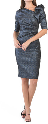 Stretch Jacquard Side Ruched Dress With Bow